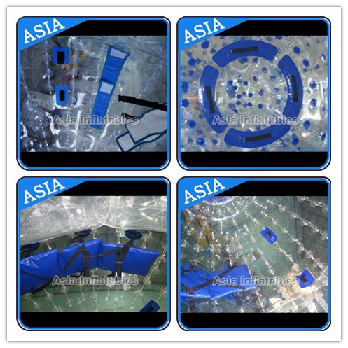 Transparent 1.0mm PVC Aqua Zorbing Ball With Color Dots For Pool Use