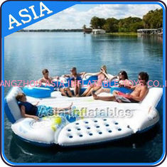 ประเทศจีน 0.9mm Durable PVC Tarpaulin Inflatable Island Floating Lounge โรงงาน