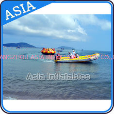 ประเทศจีน Sealed 3m Inflatable Floating Spin Water Disco Boat For 8 Person Blue / Yellow โรงงาน