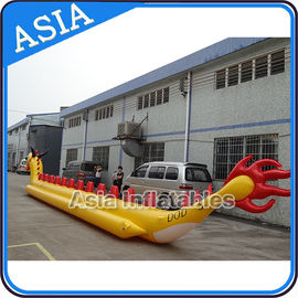 ประเทศจีน Yellow Dragon Banana Shaped Inflatable Boats 12 Person Water Sport Games For Adult โรงงาน