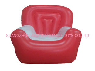 ประเทศจีน Red And White 0.6mm Pvc Tarpaulin Inflatable Air Sofa With Single Seat โรงงาน