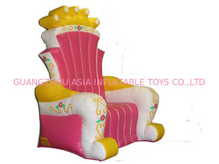 ประเทศจีน Hot Melding Pink 0.9mm Pvc Tarpaulin Inflatable  King Chair Sofa For Advertising โรงงาน