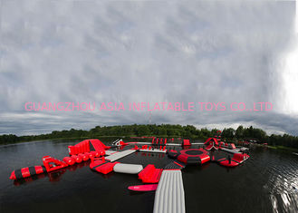 ประเทศจีน Exciting Fireproof Inflatable Floating Island Water Park Game For Adults โรงงาน
