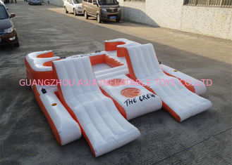 ประเทศจีน Orange 0.9mm PVC Tarpaulin Inflatable Floating Island For Water Sports โรงงาน