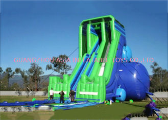 ประเทศจีน Green And Blue  Dry and Wet Slides , Inflatable Drop Kick Slide With Double Lanes For Resort And Event โรงงาน