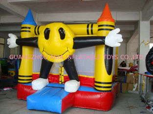 ประเทศจีน 3m Yellow Inflatable Amusement Park With Smileface Mini Bouncer โรงงาน