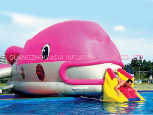 Water Floating Games, Inflatable Obstacle Course In Pink Whale Model