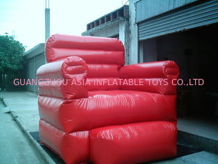 ประเทศจีน Red Durable Pvc Tarpaulin Inflatable Sofa Air Bed Furniture , Inflatable Couch Furniture โรงงาน