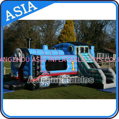 ประเทศจีน Inflatable Choo Choo Train Tunnel Moonwalk Games For Kids Party Sports โรงงาน