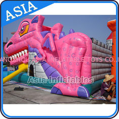 ประเทศจีน Lovely Inflatable Pink Snappy Dragon Bouncy Castle For Backyard Games โรงงาน