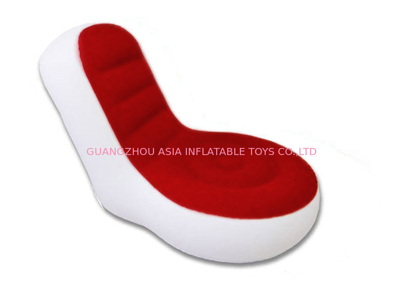Light Weight 0.6mm Pvc Tarpaulin  Inflatable Chair Sofa With Red And White Color ผู้ผลิต