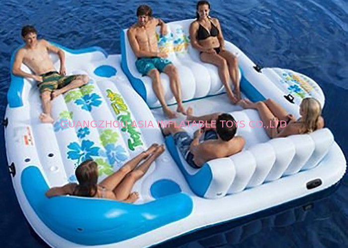 Large Inflatable Floating Island , Inflatable Lounge Water Floating Games For Leisure ผู้ผลิต