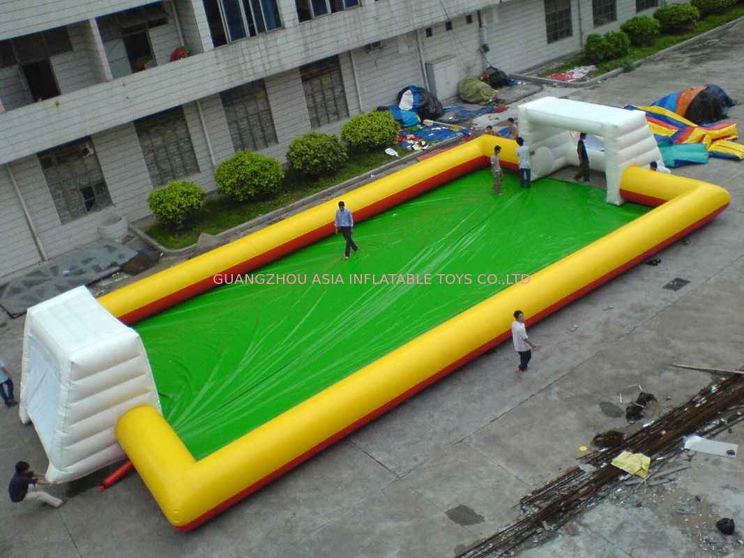 Yellow With Blue Inflatable Soap Soccer Field For Commercial Use ผู้ผลิต