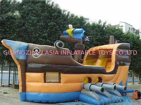 Grey Inflatable Ship Bouncer And Inflatable Funland For Chilren Party Games ผู้ผลิต