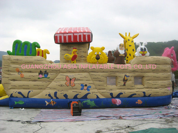 Inflatable Ship Playground With Cartoon Animals For Kids Amusement ผู้ผลิต