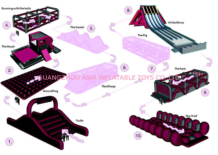 Fire Proof Inflatable Obstacle Challenges For Playground , Amusement Park