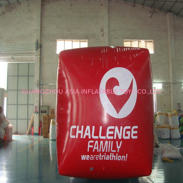 Red Cube Inflatable Swim Buoy For Advertising , Swim Buoy Inflatable Water Games ผู้ผลิต