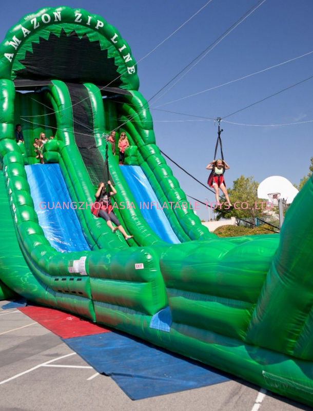 Outdoor Inflatable Backyard Zip Line For Kids Party Amusement Games ผู้ผลิต